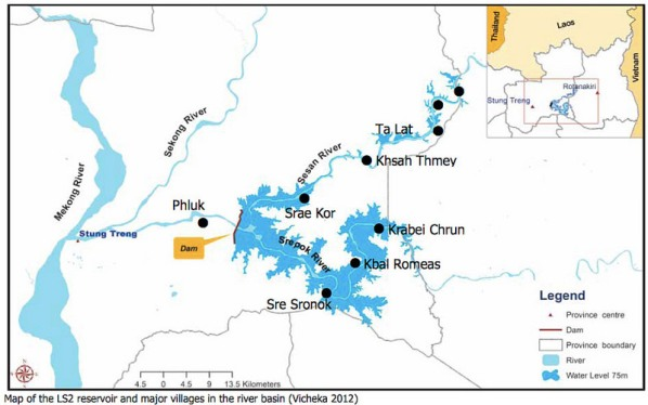 Map-Cambodia-Lower Sesan 2 Hydroelectric Dam